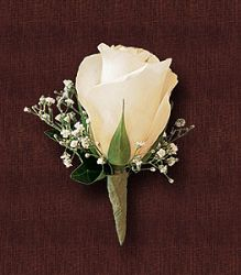 White Rose and Babys Breath Boutonniere.