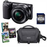 Sony NEX-5TL 16.1MP Black Compact Interchangeable Lens Camera Bundle with 16-50 mm Power Zoom Lens, Sony Case, 16GB Class 10 SD Card and Photo Creativity Suite