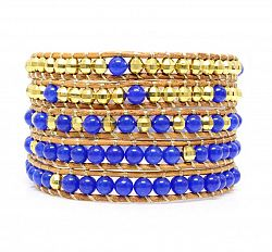 Blue Creek Wrap Bracelet Beautiful 5-Wrap Bracelet; Real Lapis Lazuli stones with golden beads on leather. 100% Handcraft model. Stainless Steel and Nickel-Free Clasp. Comes with a beautiful Beautiz Fashion Jewellery Pouch.