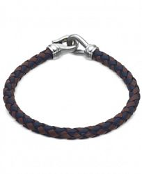 Esquire Men's Jewelry Black and Brown Leather Bracelet in Stainless Steel, Only at Macy's