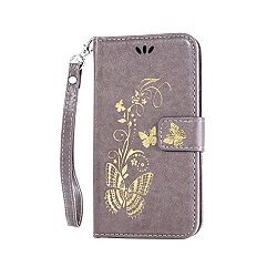 LG G3 Case, LG G3 Phone Case, Ngift [Gray] Premium PU [Bronzing butterfly] Leather Folio Wallet Flip Case Cover [Kickstand Feature] Leather Case for LG G3