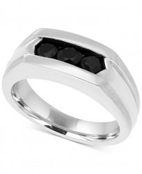 Men's Black Sapphire Ring (1 ct. t. w. ) in Sterling Silver and Black Rhodium Plate