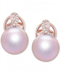 Honora Cultured Ming Pearl (12mm) & Diamond (1/10 ct. t. w. ) Stud Earrings in 14k Rose Gold