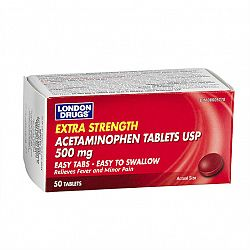 London Drugs Acetaminophen 500mg Easy Tabs - Extra Strength - 50's