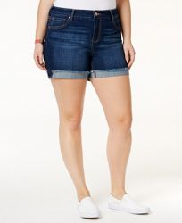 Celebrity Pink Trendy Plus Size Denim Frayed Shorts