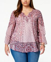 Style & Co Plus Size Mixed-Print Peasant Top, Created for Macy's