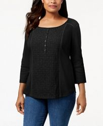 Karen Scott Cotton Lace-Front Henley Top, Created for Macy's