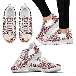 Vietnamese Pot Bellied Pig Print Christmas Running Shoes For Women- Free Shipping - Women's Sneakers - White - Vietnamese Pot Bellied Pig Print Christmas Running Shoes For Women- Free Shipping / US11 (EU42)