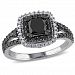 1.50 Carat T. W. Black And White Diamond Sterling Silver Double Halo Engagement Ring Black 7